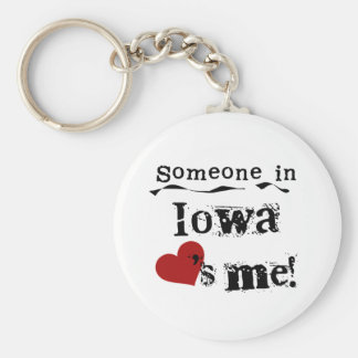 Someone In Iowa Loves Me Basic Round Button Key Ring