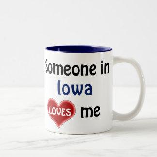 Someone in Iowa loves me Two-Tone Coffee Mug