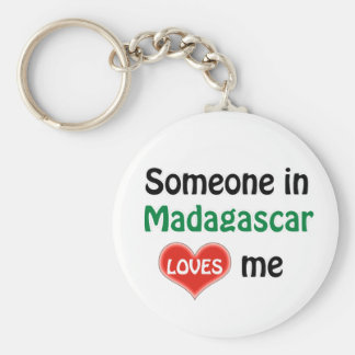Someone in Madagascar Loves me Basic Round Button Key Ring