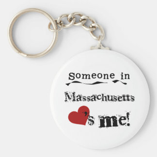 Someone In Massachusetts Loves Me Basic Round Button Key Ring