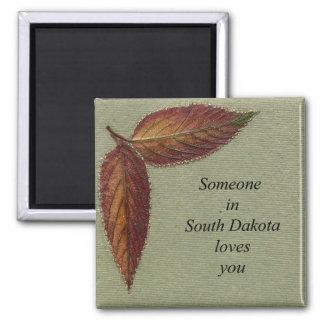 Someone in South Dakota Loves You- Viburnum Leaf Square Magnet