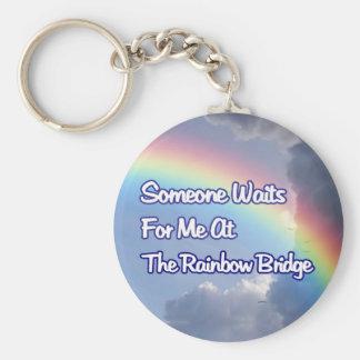 SOMEONE WAITS FOR ME AT THE RAINBOW BRIDGE DOG CAT BASIC ROUND BUTTON KEY RING