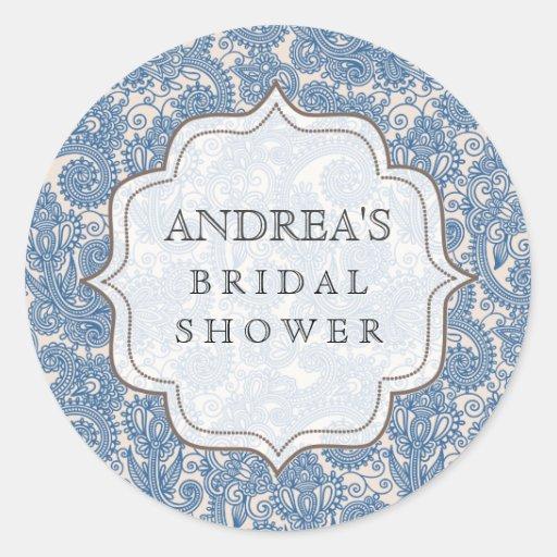 Something Blue Bridal Shower Dessert Tag Label Round Stickers