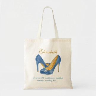 Something Blue Heels Personalised Bridesmaid Tote Canvas Bags