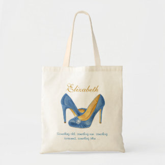 Something Blue Heels Personalized Bridesmaid Tote