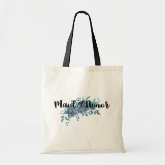 Something Blue Watercolor Wedding Maid of Honor Tote Bag