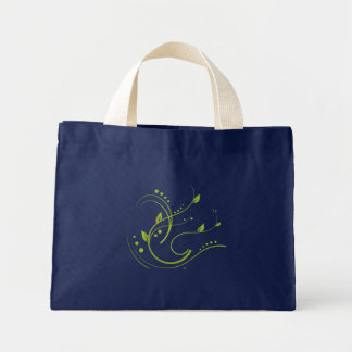 Something Green Phase on Blue Background Mini Tote Bag