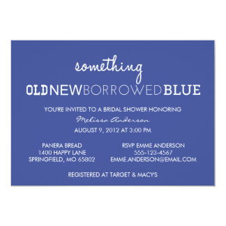 Something Old, New, Borrowed, Blue Bridal Shower I 13 Cm X 18 Cm Invitation Card