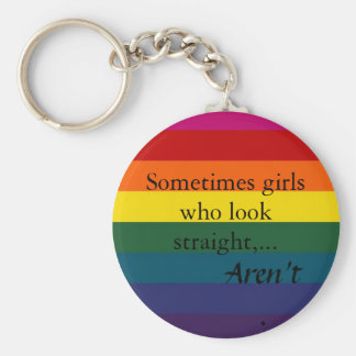 Sometimes girls who look straight,... basic round button key ring
