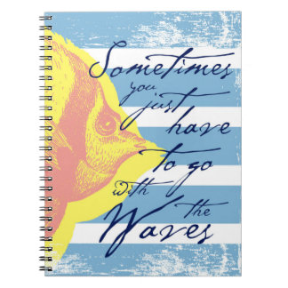 Sometimes You Just Have to Go With The Waves Spiral Notebook