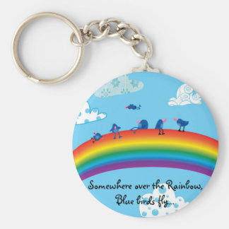 Somewhere over the rainbow basic round button key ring