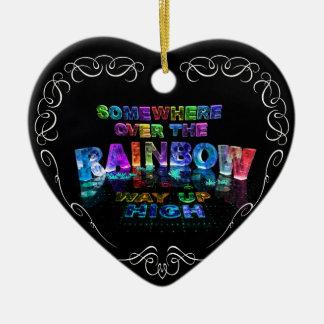 Somewhere Over the Rainbow Ceramic Heart Decoration