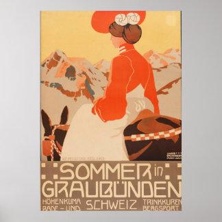 Sommer and Graubunden Schweiz Vintage Travel Poste Poster