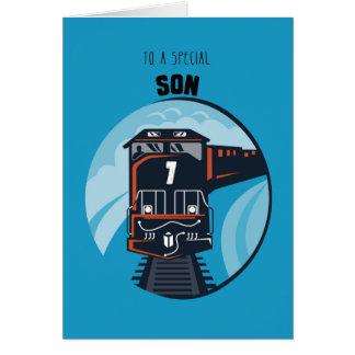 Son 7th Birthday Train, Little Boy, Blue Greeting Card