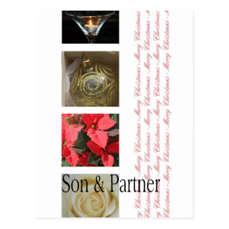 son and partner  Merry Christmas card Postcard