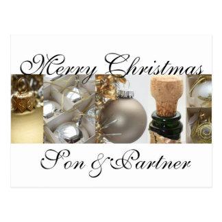 son and partner  Merry Christmas card Postcard
