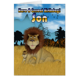 Son Birthday Card - Lion And Cub