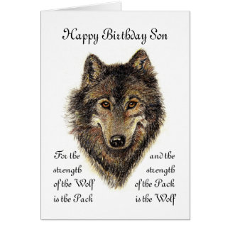 Son Birthday -Wolf and Pack Quote Card