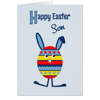 Son blue Easter egg bunny Greeting Card