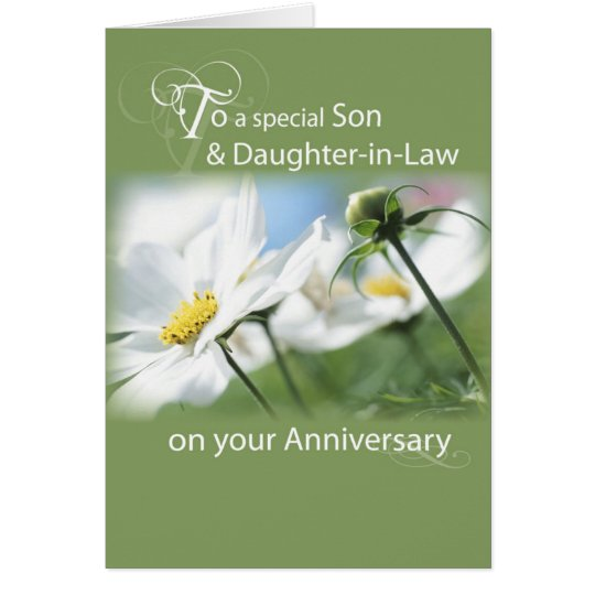 Son & Daughter-in-Law, Anniversary White Flowers Card
