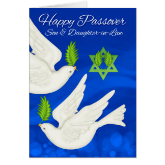 Son & Daughter-in-Law Passover Dove And Olive Leaf Greeting Card
