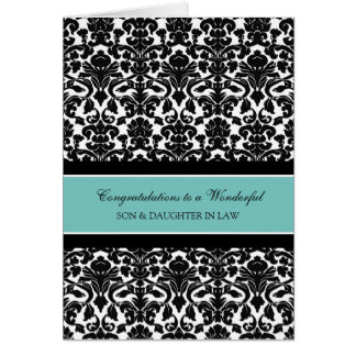 Son & Daughter In Law Wedding Congratulations Teal Card