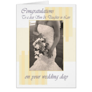 Son & Daughter in Law Wedding day cream congratula Card