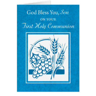 Son, First Communion, Wheat, Grapes Blue Card