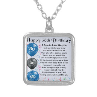 Son in Law Poem  - 30th Birthday Silver Plated Necklace