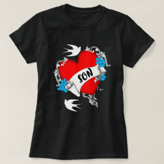Son Love Red Heart Tattoo Style Graphic T-Shirt