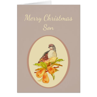 Son Merry Christmas Partridge in Pear Tree Card