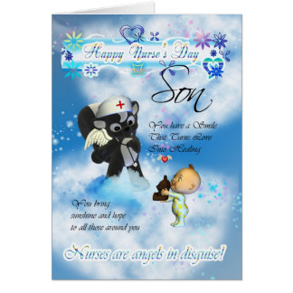 Son Nurse's Day cute little baby and cute nurse sk Card