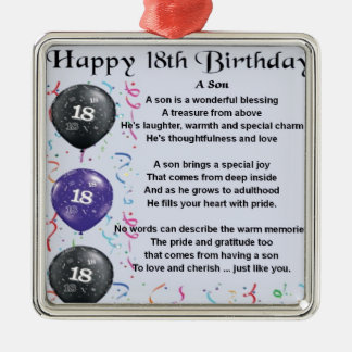 Son Poem 18th Birthday Metal Ornament
