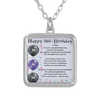 Son Poem 18th Birthday Silver Plated Necklace