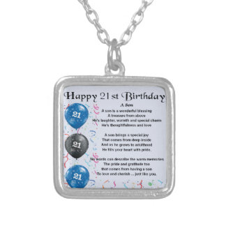 Son Poem  - 21st Birthday Design Square Pendant Necklace