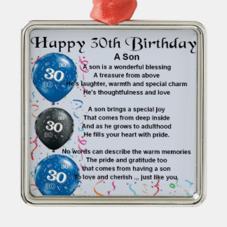 Son Poem  - 30th Birthday Design Metal Ornament