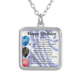 Son Poem  -  Happy Birthday Silver Plated Necklace