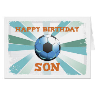 Son Soccer Birthday with Ball, Orange on Teal and Card