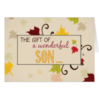 Son Thanksgiving Gift Fall Leaves Card