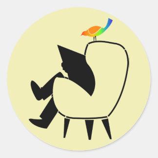 Song Bird Reading Newspaper Round Stickers