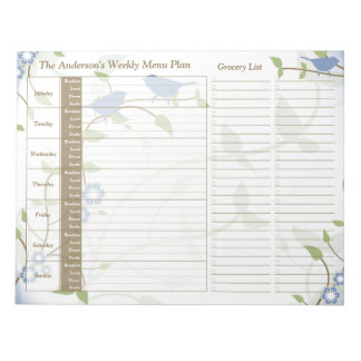 Song Birds Floral Weekly Personalized Meal Planner Notepad