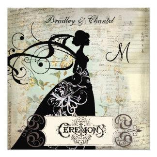 Song Blossoms Silhouette Bride Invite