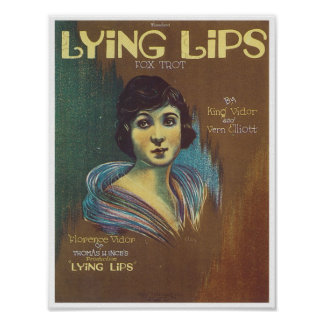 Song Lying Lips Vintage Music Sheet Cover Poster