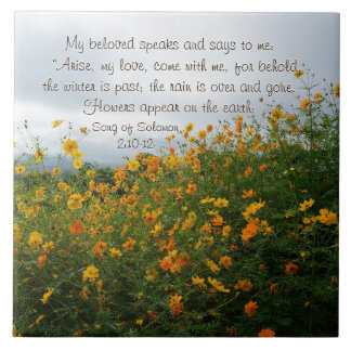Song of Solomon 2:10-12, Bible Verse, Flowers Tile