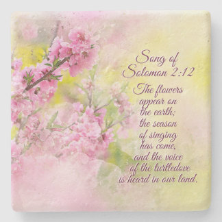 Song of Solomon 2:12 Flowers appear on the earth Stone Coaster