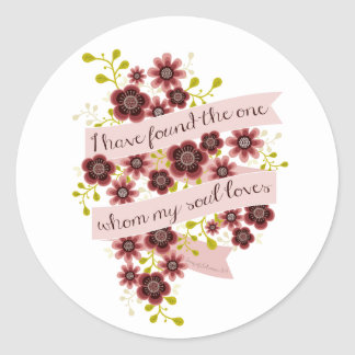 Song of Solomon Love Quote Romantic Floral Classic Round Sticker