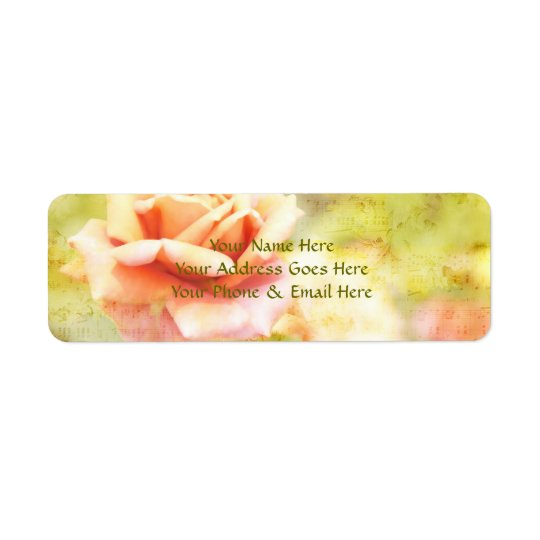 Song of Spring II - Lovely Pale Orange Rose Return Address Label