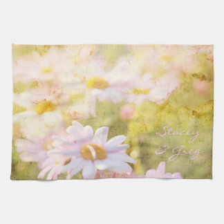 Song of Spring Lovely Pale Pink Daisies Asters Tea Towel