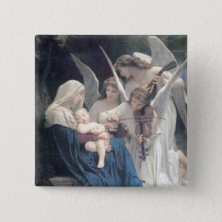 Song of the angels antique painting baby religion 15 cm square badge