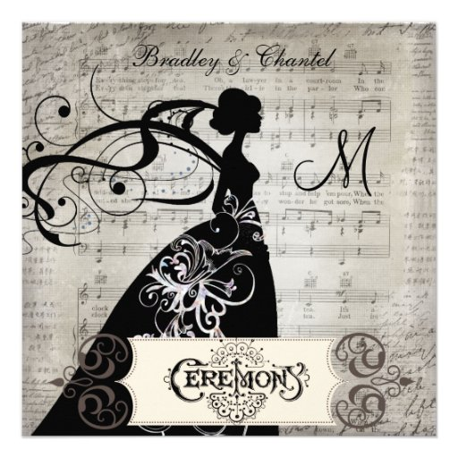 Song Pages Silhouette Bride Invite